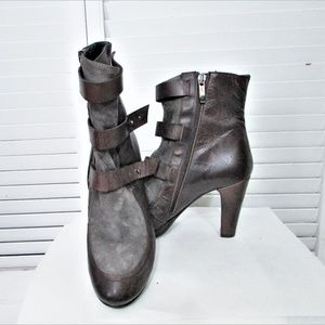 Alberto Fermani brown leather suede ankle boots 38
